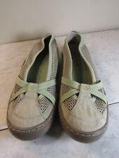 Terrasole Lt Beige/Mint Suede/Mesh Ballet Flat Women's Slip On Shoes Size 8 M