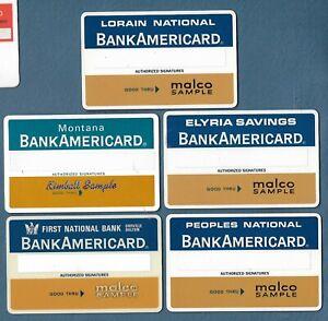Lot of 5 Diff Vintage Credit Cards BankAmericard Blanks Malco Kimball Samples