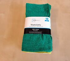 Mainstays 1PACK=18 PCS 100%Cotton Washcloth Collection Assorted Colors