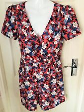 BNWT Oasis Coral Blue Retro Floral Ruffle V-neck Summer Playsuit Size 10 RRP £46