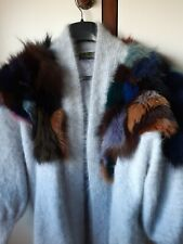 80% Angora Fluffy LONG Cardigan / Sweater / Jumper Trimmed w Real Fur Size XL