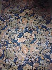 tissu textile coupon ameublement imprimé japonisant oiseau fleur 63x125cm