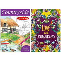 2 X ADULT COLOURING BOOK BOOKS Mindfulness Anti-Stress MANDALA RELAX WITH COLOUR