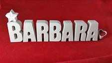 Beton, Steinguss Buchstabe 3D Deko Name Schriftzug BARBARA als Geschenk verpackt