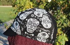 CYCLING CAP ONE SIZE  SKULL GLOW IN THE DARK 4 PANELS HANDMADE IN USA COTTON
