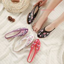 Womens Embroidered Mesh Hollow Slippers Chinese Floral Comfort Cloth Shoes zx00
