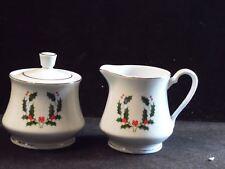 Holly & Berry Gold Trim Christmas Winter Cream & Sugar Bowl Set