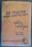CATERPILLAR D8 TRACTOR TORQUE CONVERTER DRIVE SPARE PARTS BOOK LIST 1963