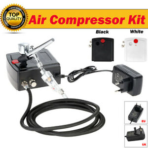 AC 100-250V Gravity Feed Dual Action Airbrush Air Compressor Kit for Art NEW