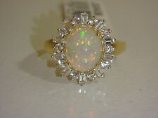 14K YELLOW GOLD ETHIOPIAN OPAL & WHITE ZIRCON RING NEW SIZE 7