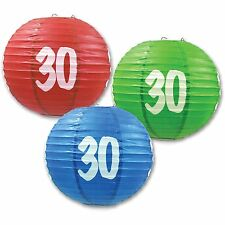 "3 Paper Lanterns 9.5"" Dia 30th Birthday Anniversary Party Decorations"