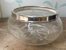 Victorian 19thC crystal glass fruit salad punch bowl solid HM silver rim