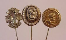 Vintage Gold Tone West Germany Cameo Rhinestone Stick Pins Lot 3 Pieces