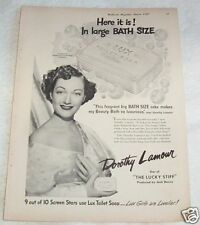 1949 vintage ad - LUX Soap movie star DOROTHY LAMOUR beauty PRINT AD