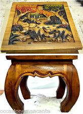 Tavolo opium incisioni, bassorilievo legno massello 50 x 50 x 40