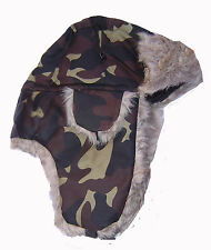 camo Trapper  Hat  Russian  Cossack Faux Fur Lined WARM THERMAL BRAND NEW UNIQUE