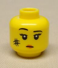 x1 New Lego Minifig Head Girl Female w/ Black Eyebrows Red Lips & Smudge on Face
