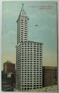 Vintage Seattle Washington LC Smith Building Postcard Tall 42 Story Bldg View