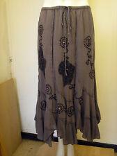 Lovely Embroidered & Beaded Brown Cotton Skirt Skirt from Klass - Size 10