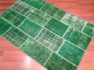 CUSTOM MADE emerald green vintage Overdyed Handmade Turkish Patchwork Carpet rug