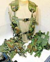 THREE (3) Woodland Camo US LBV TACTICAL LOAD BEARING VEST, Real US Army Surplus