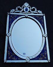 1880/1900' Miroir Venise rectangle à fronton avec cadre en verre bleu émaillé