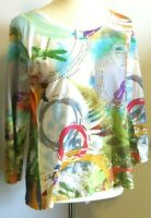 compliments women's Large 3/4 sleeve multicolor wearable art geo dragonfly shirt