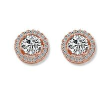 18k Rose Gold Plated Silver Cubic Zirconia CZ Halo Stud Earrings 10mm Gift P25