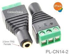 "2-Pack 3.5mm 1/8"" TRS Female Jack to AV 3-Screw Terminal Block Balun Connector"