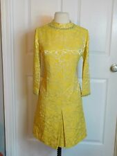 60s Vtg Heavy Metallic Brocade Jackie O Cocktail Mod DRESS Leslie Fay Original M