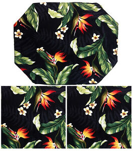 Hawaiian Print Placemats + Napkins Set 2 Each Cotton Flowers Plumeria BOP Hawaii