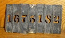 """Vintage / Antique Brass Number Stencils - 9/16"""" Tall Numbers - 1 2 5 6 7 8"""