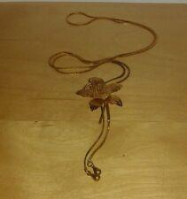 Vintage 1980's Jonell Gold Metal Slider Necklace Mesh Rose Lariat