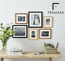 Stylish 30mm Black White Wood Effect Frame with Mount Photo Picture Art Frame