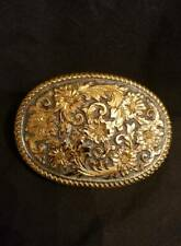 Crumrine Bronze Belt Buckle Ornate Jewelers and Silversmiths Reno Nevada