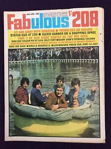 FABULOUS 208 Magazine 29th June 1968 Pop Music Love Affair LULU Quo BILLY FURY