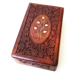 """Wooden Box 6""""x10""""x2.6"""", Hand Carved Flowers & Vines Design, Brass Inlay"""