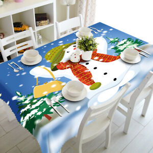 Christmas Snowman Pine Dustproof Tablecloth Home 3D Printed Table Cloth Cover
