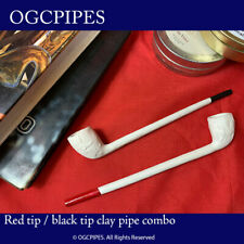"""TWO 8"""" CLAY TOBACCO PIPES WITH VARNISHED TIPS [BLACK AND RED] #41RB"""