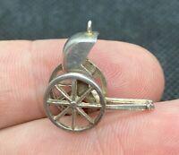 "Vintage 925 Sterling Silver Rickshaw Wheel Barrow Pendant Charm 3/4"""