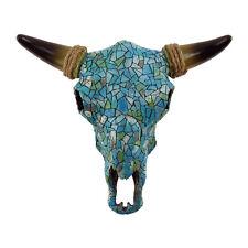 Southwestern Turquoise Mosaic Steer/Bull/Cow Skull&Horns Head Western Wall Decor