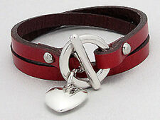"Stylish Red Leather Wrap 7"" Bracelet Stainless Steel Puffed Heart & Toggle Clasp"