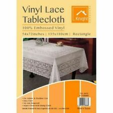 White Lace Plastic Embossed Vinyl Table Cloth Rectangle 54 X 72 Inch Approx