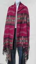 Yak Wool Shawl/Throw-Handloomed in Nepal-Reversible-Pink/Tan//Blk/Gold/Blue/Salm