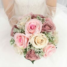"""9"""" Bridal Bouquet Dusty Pink Champagne Rose Real Touch Babybreath Wedding Flower"""