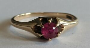 Antique Ostby & Barton OB 14K Gold Ruby Belcher Claw Ring Size 6.5