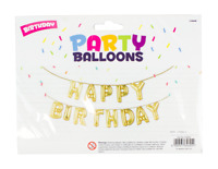Gold Happy Birthday Bunting Banner Foil Balloon Set + FREE Straw and Ribbon 5m