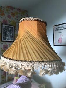 Vintage Lampshade Pleated Mustard/orange Table Or Small Floor lamp Fab Shape!