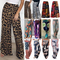 Women Boho Floral Leopard Print Harem Elastic Waist Trousers Palazzo Loose Pants