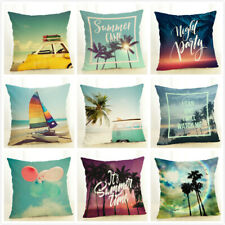 Summer Holiday Time Scenery Square Pillow Case Custom Zippered Cushion Covers
